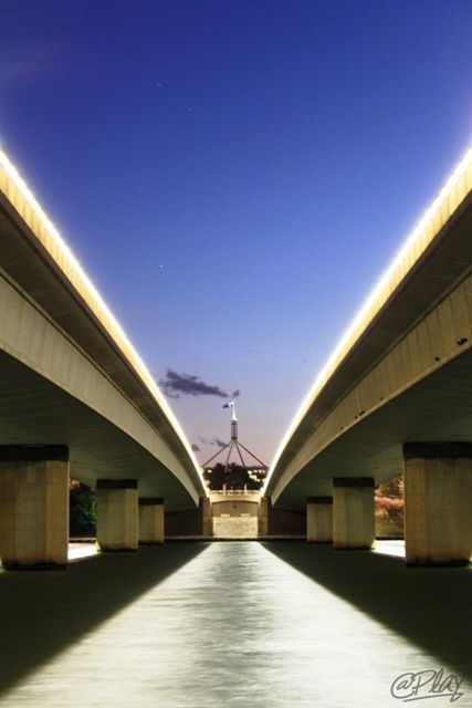 Commonwealth Avenue bridge and Parliament House, Canberra