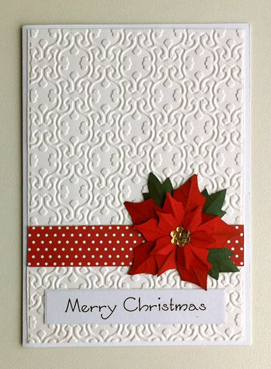 Christmas card with poinsettia embossed white paper / kort jul, julekort med julestjerne - JKE