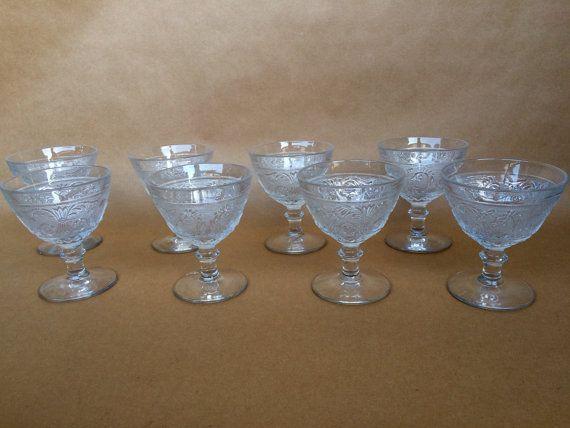 Set of 8 Sorbet set ice cream glasses vintage ice cream