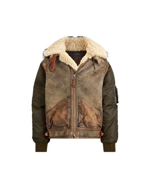 223621e7 Polo Ralph Lauren - Brown Hybrid Bomber Jacket for Men - | Lo-Life ...