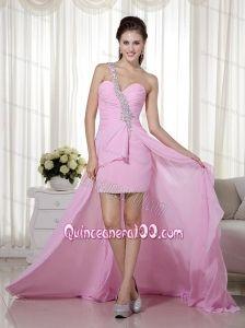 Pink Beading One Shoulder Column / Sheath Dama Dress with Chiffon