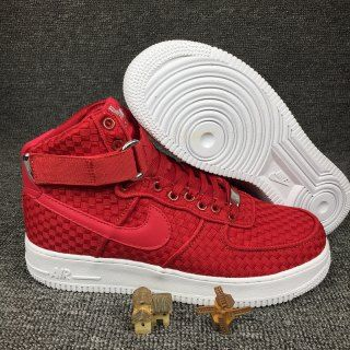 new product 753de 566e7 Mens Womens Sneakers Nike Air Force 1 High 07 Lv8 Woven Gym Red White  843870 600