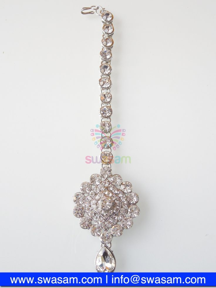 Indian Jewelry Store | Swasam.com: Tikka with Perls and White Stones - Tikka - Jewelry Shop to Buy The Best Indian Jewelry  http://www.swasam.com/jewelry/tikka/tikka-with-perls-and-white-stones-1345.html?___SID=U  #indianjewelry #indian #jewelry #tikka