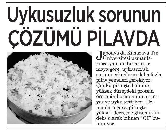 Uyku düzeni bozukluğunun en lezzetli ilacı bir kase haşlanmış pirinç!