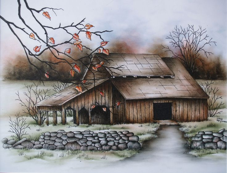 Mary Owens - Just Before the Snow Pen and Ink with oil rouging