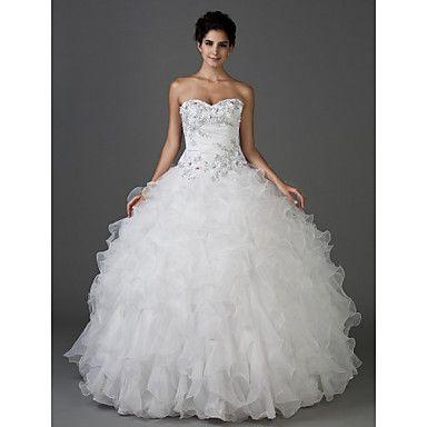 bola vestido strapless do assoalho-comprimento tafetá e organza vestido de noiva – USD $ 283.49