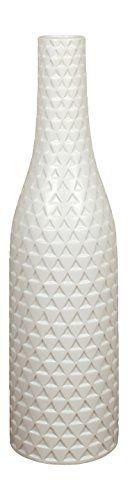 Exklusive große weiße Keramik Bodenvase