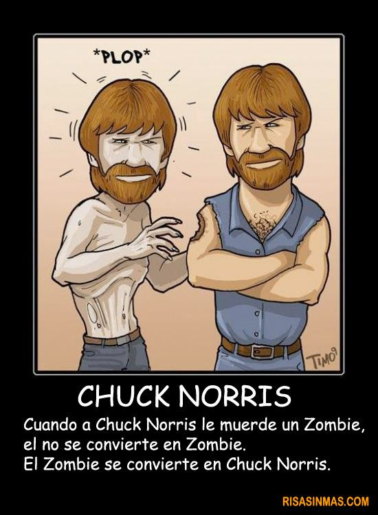 Chuck Norris y los Zombies (When Chuck Norris is murdered/bitten by a zombie, he doesn't change into a zombie. The zombie changes into Chuck Norris.)