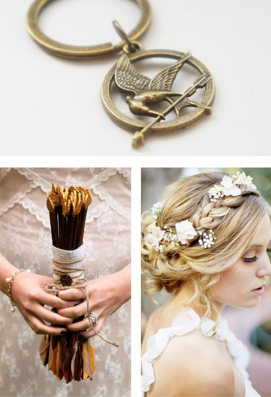 Hunger Games Wedding Theme.  Pinned by Afloral.com from blog.myweddingreceptionideas.com ~Afloral.com has supplies to help you DIY your theme wedding. #afloral #wedding #flowers #diy #decor #crafts #feathers