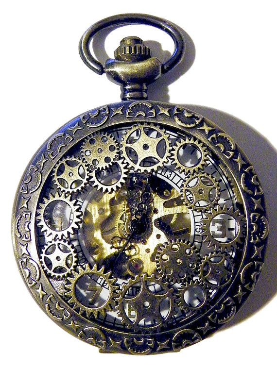 Steampunk Pocket Watch Gears Metal Gold Brass Necklace or Chain Fob Gothic Steam Punk Goth Wedding Costume Cosplay Mens Gift Black White