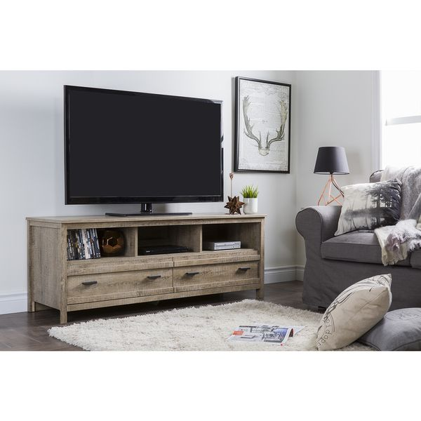 The South Shore Exhibit TV stand will complement your contemporary decor with is elegant and sleek lines. The TV stand will fit up to a 60 inch television. It features metal handles with an antique pe