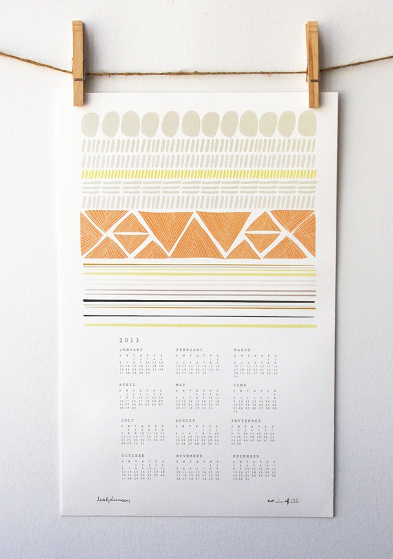 2013 Shapes Wall Calendar by leahduncan on Etsy, $22.00