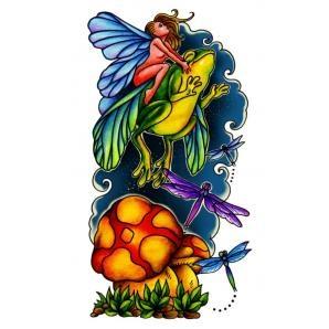 Cool angel on frog fantasy tattoo...