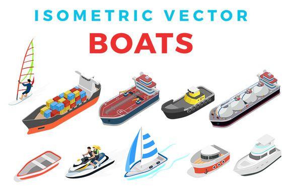 Isometric Vector Flat Boats by Sentavio on @creativemarket