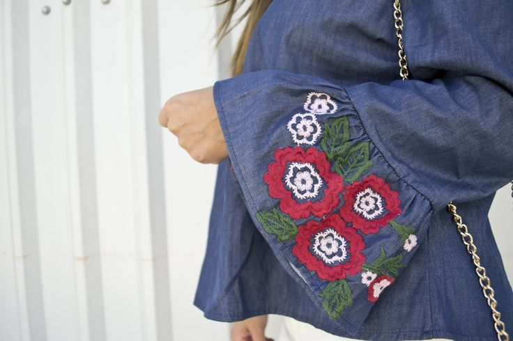 #Bordados #embroidery #denim #trend #flower #prints #mexican #offtheshoulder #flaresleeves #burgundy #neutrals #casual #bags #heels #pants #tshirts  #okilucky #cklass #zara #agaci #Embroidery #ootd #outfit #ideas
