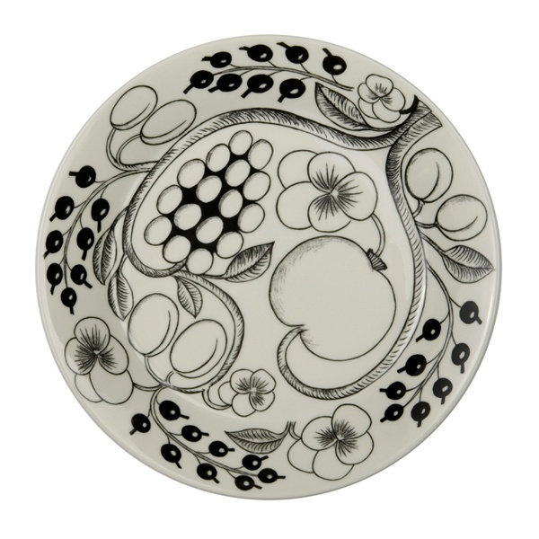 Paratiisi plate by Birger Kaipiainen (1969) in black and white, Arabia / Iittala.