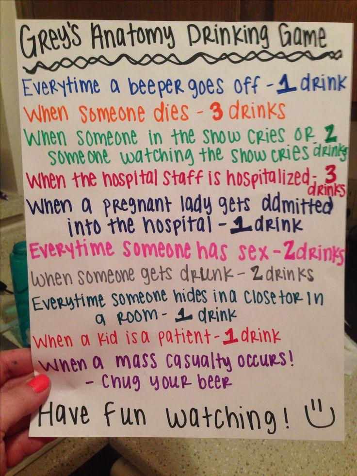 Grey's Anatomy Drinking Game!! @desireelatonya @amandagadison We would be TOASTED by the time #HTGAWM came on lol hahahahahaha