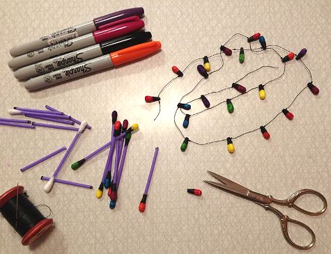 Easy christmas lights diy from topz. Kids craft.