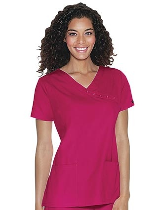 Style Code: CH-26908 This mock wrap top features feline logo snaps, shoulder darts at the front and back for shaping, patch pockets and side vents.