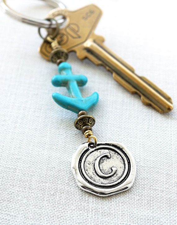 Personalized Keychain Anchor Keychain Nautical Gift by KapKaDesign