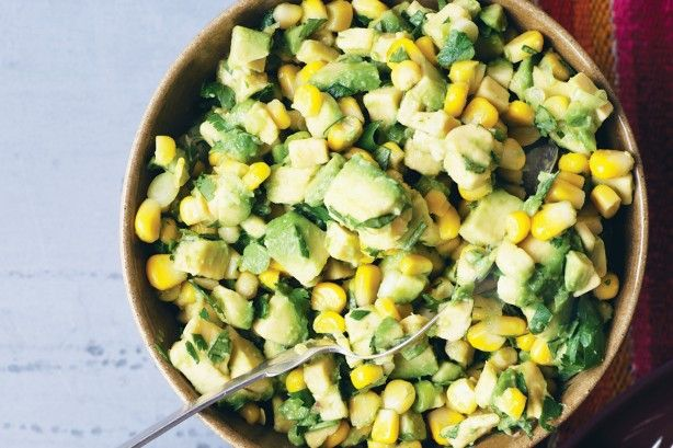 This avocado and corn salad is a tasty twist on classic Mexican guacamole.