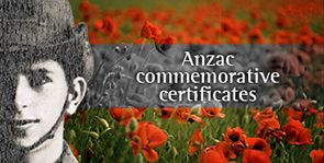ANZAC Commemorative Certificates - Queensland Registry of Births Deaths and Marriages is a new prize sponsor for NFHM 2015