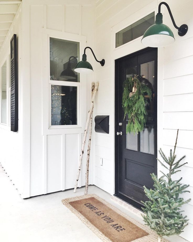 Paint doors black and consider the green lights