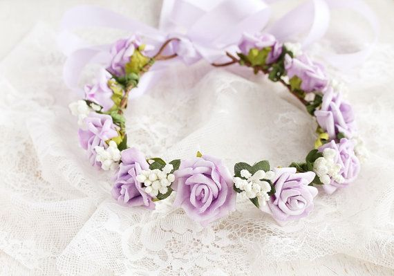 Lilac Rose Crown Flower Girl Halo Toddler Crown by NoviaBellaTS