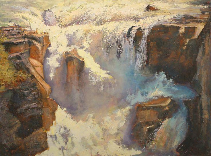 Linda Wilder, Sunwapta, 30x40 acrylic, Sunwapta Falls off hwy 93 near Jasper National Park, near Jasper Alberta (from Arabella Canadian Landscape Competition)