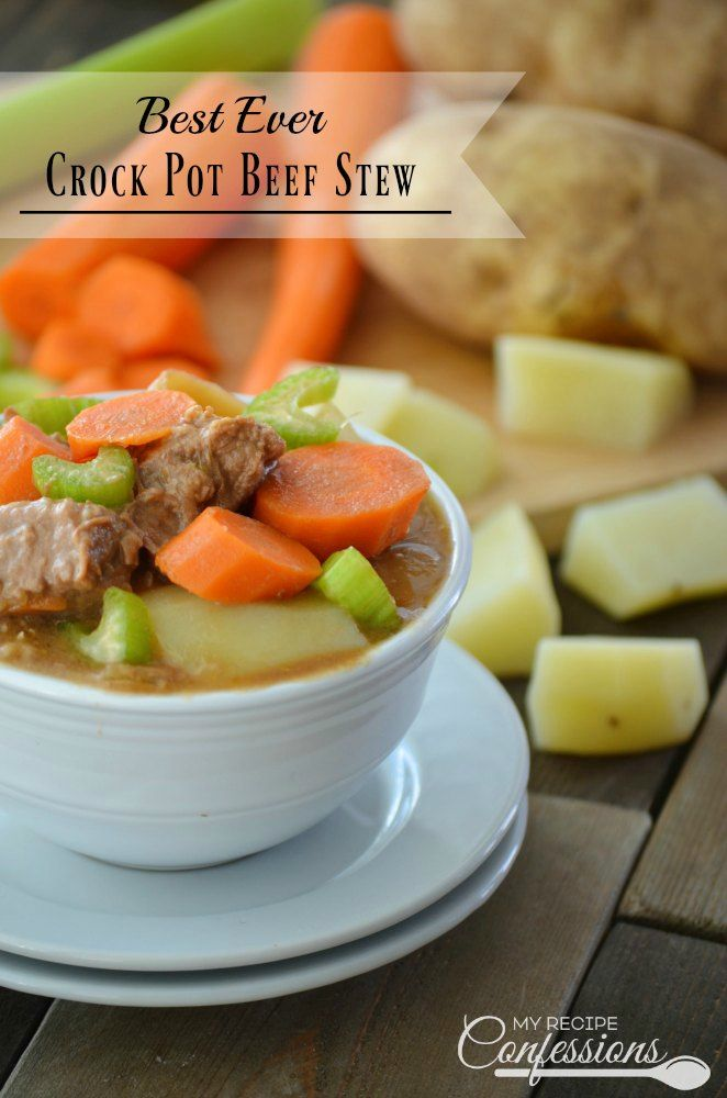 Best Ever Crock Pot Beef Stew-This beef stew recipe is easy to follow and is the best slow cooker stew I have ever had! The beef is so tender they practically melt in your mouth. The sauce has a smooth gravy-like consistency that's bursting with flavor. This is one of my favorite crock pot meals!