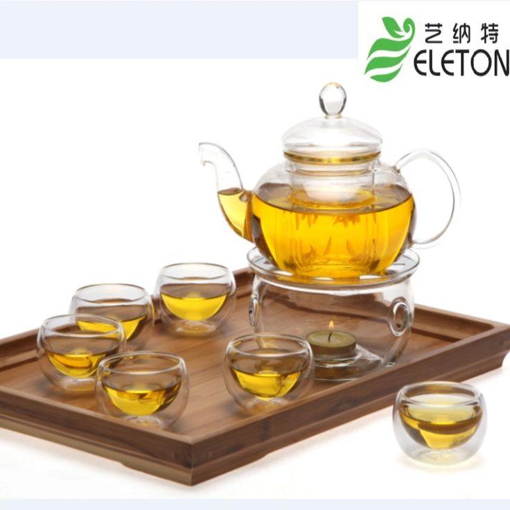 Высокая термостойкость стеклянный чайник 10 шт./компл. 1 шт. 600 мл банк + 6 шт. 50 мл чашки + 1 шт. подогревом база + 1 шт. чай свечи + 1 шт. бамбуковые плиты