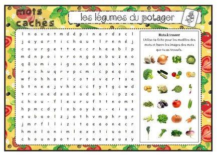 Vocabulaire : Mots mêlés : Les légumes du potager - Fiches de préparations (cycle1-cycle 2-CLIS)