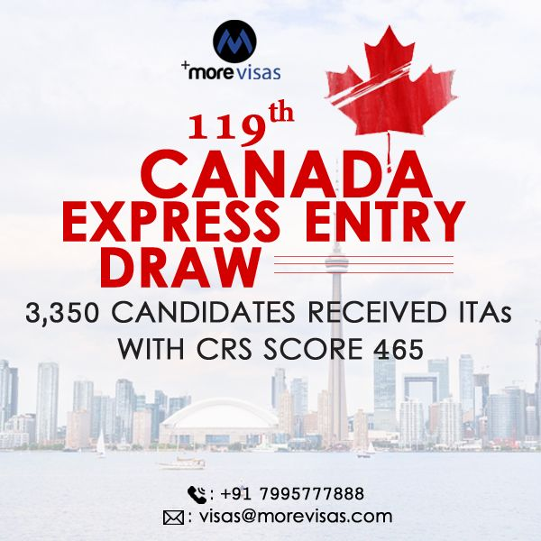 119th Canada Express Entry Draw 3 350 Candidates Received Itas With Crs Score 465 Canada Expressions Migrate To Canada