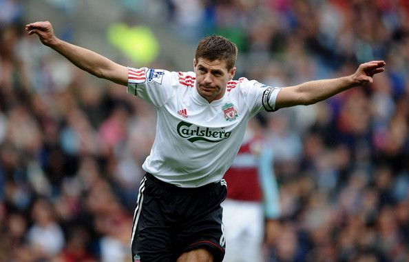 Steven Gerrard of Liverpool celebrates scoring his team's second goal during the Barclays Premier League match between Burnley and Liverpool at Turf Moor on April 25, 2010 in Burnley, England.