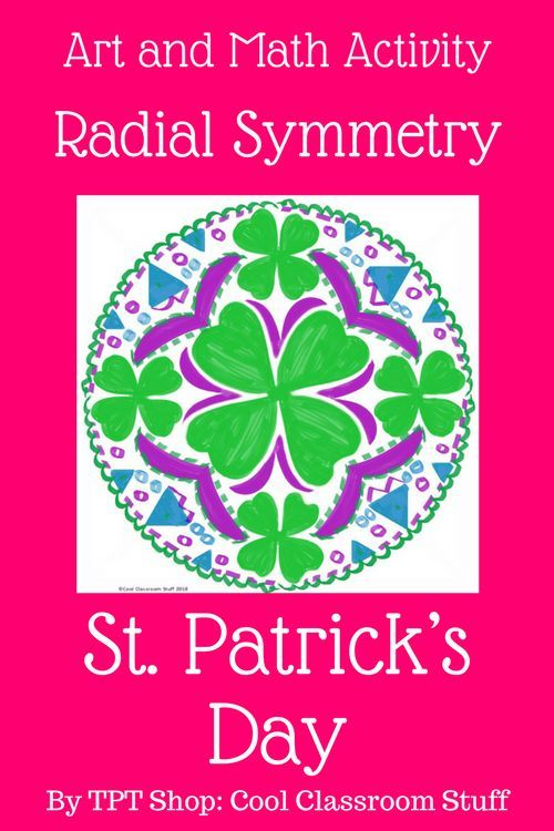 This art activity would be fun for kids in elementary or middle school. Students create a St. Patrick's Day design using radial symmetry. This lesson works as a lesson, center, sub plan or early finisher. #artactivity #earlyfinisher #STEAM
