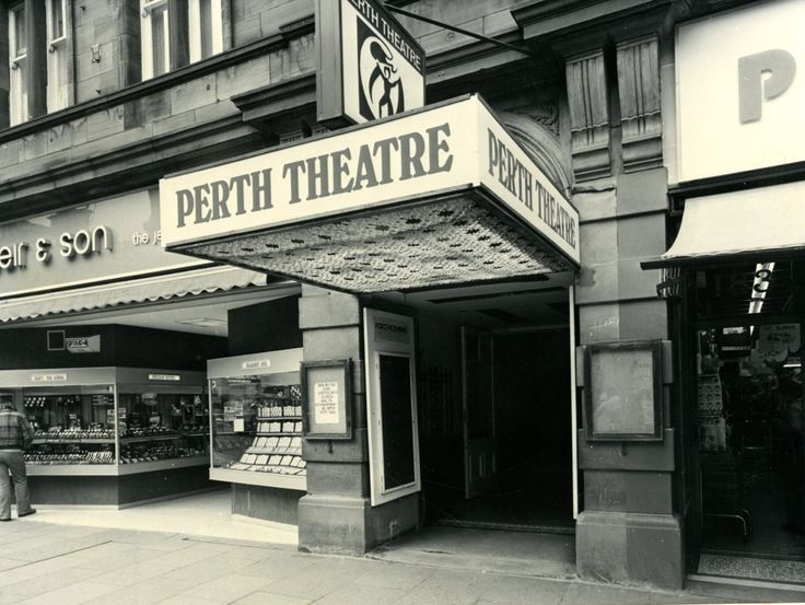 Perth Theatre n Scotland —the old canopy (with the old logo above it) before renovations in 1980