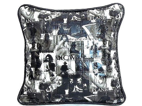 Leather throw pillow  Movie collage quilt piping by SABDECO