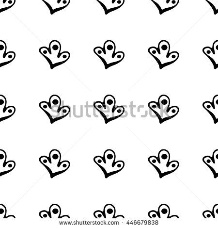 Seamless pattern with hand drawn abstract cartoon shapes. Ink doodles. Endless  floral monochrome background.