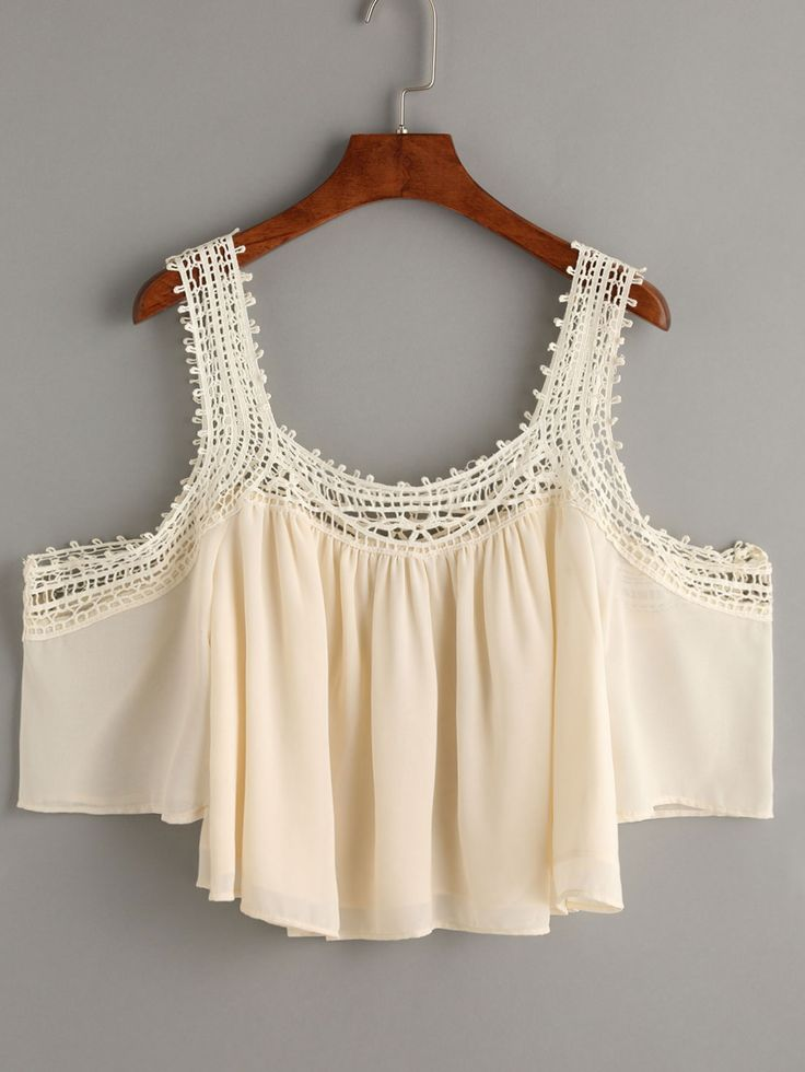 Apricot Crochet Trimmed Cold Shoulder Chiffon Top