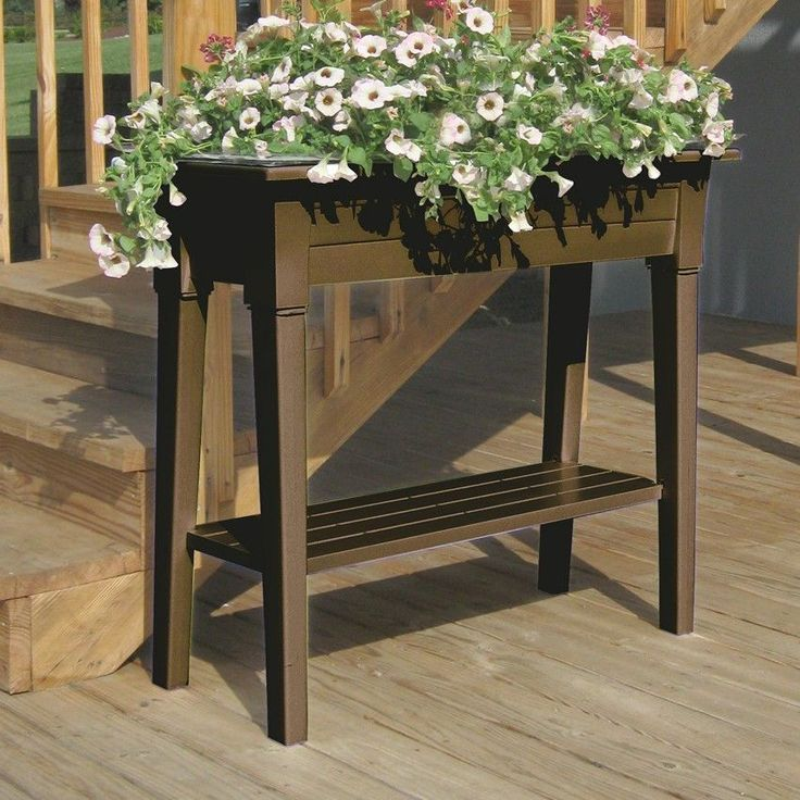 Rectangle Raised Flower Box Planter Bed 2 Tier Soil Pots: NEW 2-Tier Raised Garden Elevated Planter Box In Brown