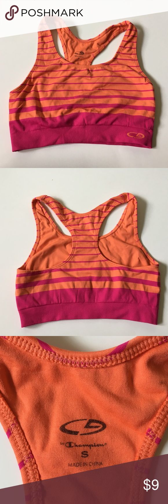 Champion Sports Bra Pink and orange champion sports bra. Size small. Excellent condition. Champion Intimates & Sleepwear Bras