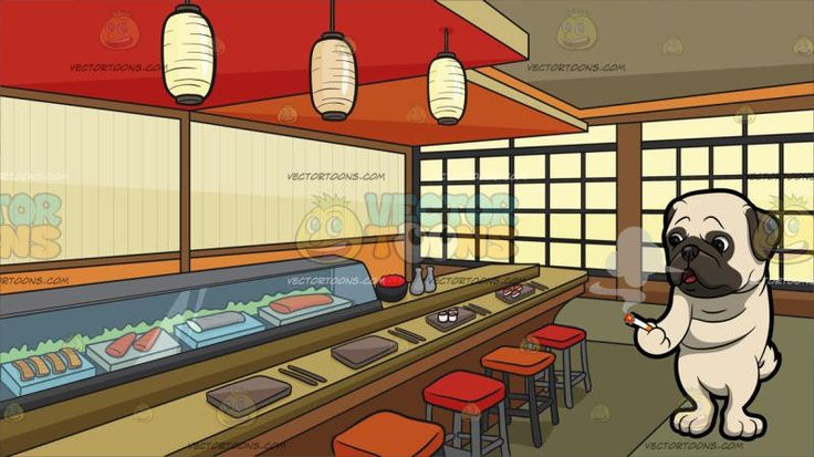 A Pug Smoking A Cigarette With A Sushi Bar Background:  A cute dog with an off white short fur dark gray droopy ears muzzle and circle around the eyes exhales smoke while holding the lighted cigarette in his front right paw and A room set up as a Japanese sushi bar with red and orange bar stools Japanese lamps brownish gray orange and red ceiling glass display showing a variety of fresh sushi light brown rectangular plates and chopsticks soy sauce bottles oriental windows and olive green…