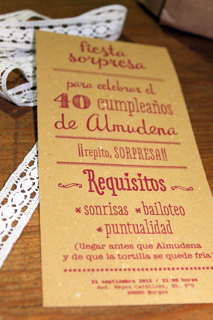 Almudena cumple 40 años y le preparan una fiesta sorpresa! 40 Pinterest Fiestas and Ideas para