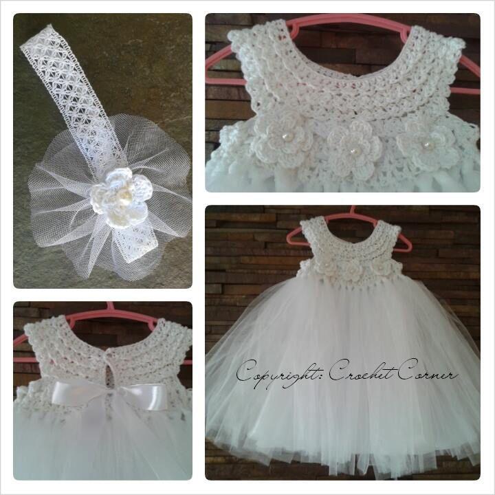 crochet baby dress and headband by corchet corner