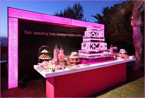 Love this bar!: Birthday, Ice Sculpture, Barbie Theme, Wedding Ideas, Dessert Buffet, Barbie Party, Party Ideas, Dessert Bars