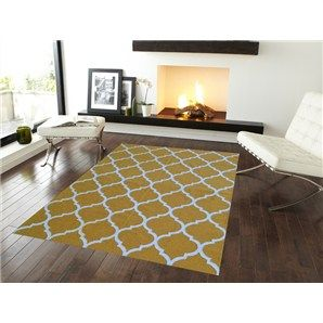 Trendy Woollen Durries in Light Yellow - 160x230cm