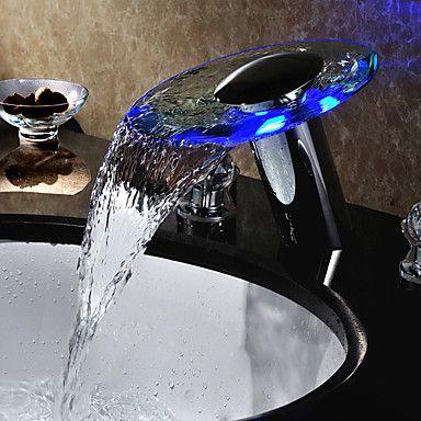 Kaufen (EU Lager)Zwei Griffe LED Wasserfall Wasserkraft Glas Badezimmer Waschtischarmatur Chrom(Tall) mit Günstigste Preis und Gute Service!