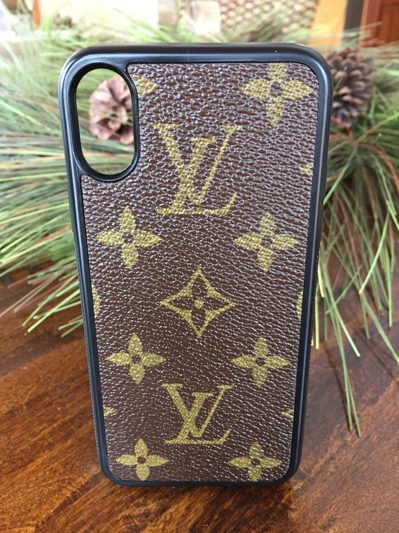 e1f128cf58e0 Handcrafted flexible cell phone case for iPhone X authentic re-purposed Louis  Vuitton canvas. New black flexible case for iPhone X covered with  re-purposed ...