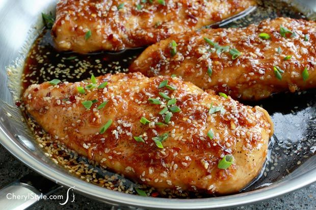 One Skillet Seseame Ginger Chicken by cherylstyle: Serve this chicken over steamed rice and veggies for a complete meal. #Chicken #Asian #Sesame #Ginger #Easy #Healthy