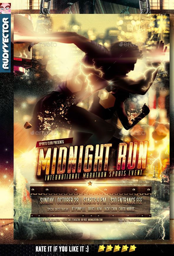 Midnight Run Night Run Marathon Run Sports Event Flyer Template. Best for your run events, sports event, athletic event, marathon event, sprint event, sports competition, etc. Main Model silhouette image is included. File Details :  All fonts are editable